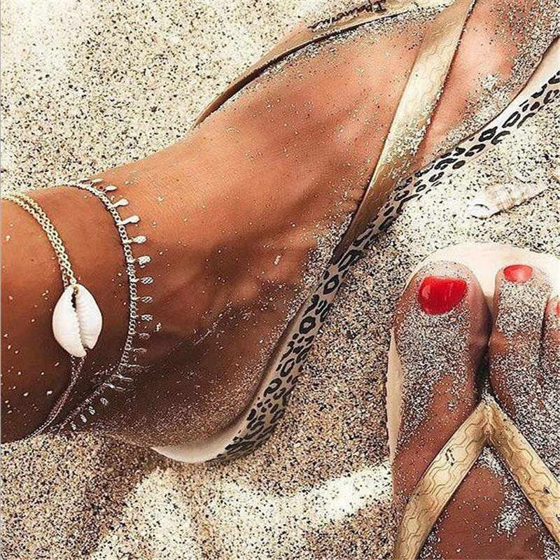 2018 New 2pcs/set Boho Beach Shells Anklet Women Ankle Bracelet Silver Foot Chain Jewelry Femme Cheville jsz3