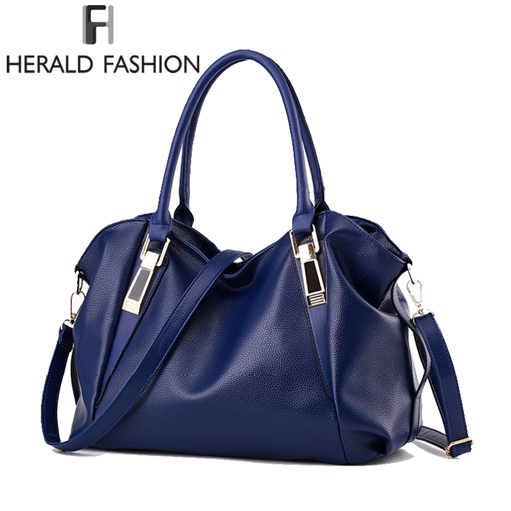Herald Fashion Designer Women Handbag Female PU Leather Bags Handbags Ladies Portable Shoulder Bag Office Ladies Hobos Bag <font><b>Totes</b></font>