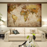 Large Size Vintage National Geographic World Map Painting Print Wall Art Picture Europe Modern Canvas Paintings