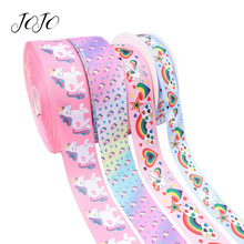 JOJO BOWS 38/50mm 5y Grosgrain Ribbon Unicorn Heart Rainbow Printed Tape For Clothing Gift Wrapping Holiday Decoration DIY Bows