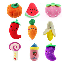 pawstrip 1pc Fruit Dog Toys Squeaky Soft Plush Puppy Interactive Sound For Small Dogs