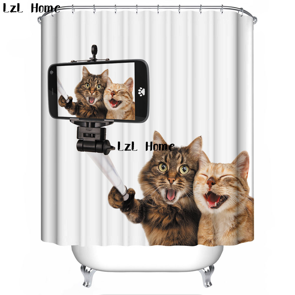 LzL Home 3D Cute Cartoon Cat Shower Curtain Bathroom Waterproof Mildewproof Polyester Fabric With 12 Hooks Multi-size Curtains