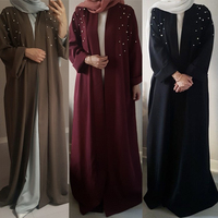 Muslim Abaya Beading Dress Cardigan Beading Tunic Long Robes Kimono Jubah Ramadan Arabic Turkish Thobe Islamic