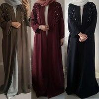 Muslim Abaya Beading Dress Cardigan Beading Tunic Long Robes Kimono Jubah Ramadan Arabic Turkish Thobe Islamic