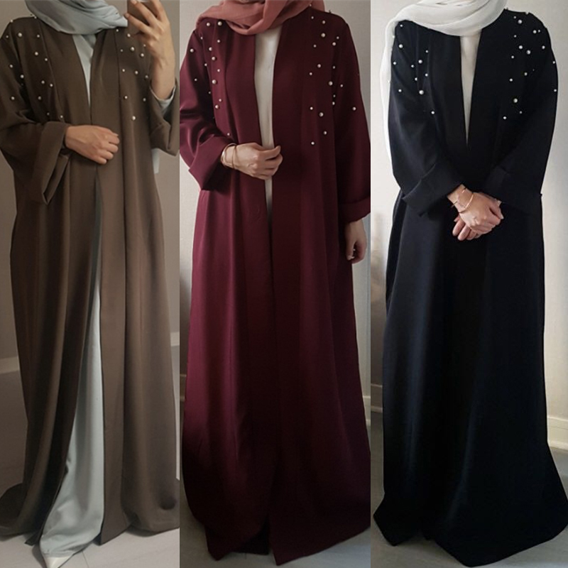 Muslim Abaya Beading Dress Cardigan Beading Tunic Long Robes Kimono Jubah Ramadan Arabic Turkish Thobe Islamic Prayer Clothing