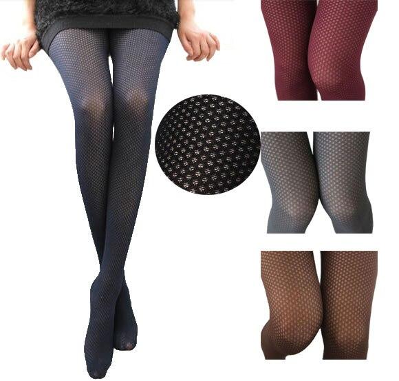 Openwork mesh velvet stockings Solid polyester knitted stockings ...