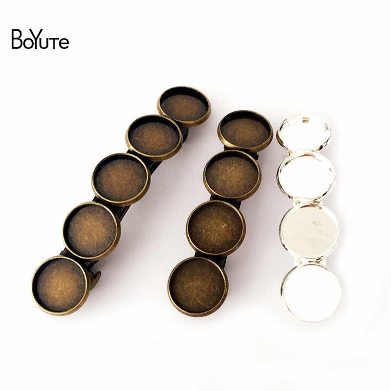 BoYuTe 10 piezas 12 MM cabujón Base horquilla bandeja en blanco 7 colores chapado accesorios para el cabello DIY