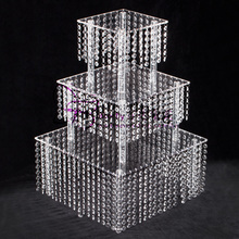 3 Tier Cake Stand Square Acrylic Crystal Beaded Chandelier For Birthday Wedding Party Cascade Cupcake Tower Centerpiece