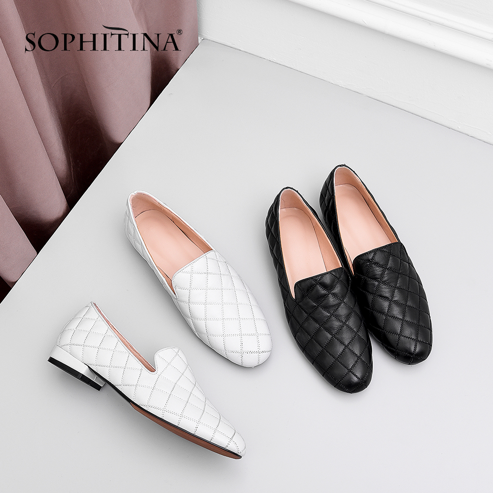 SOPHITINA Women s Flats Genuine Leather Casual Gingham Slip On Round Toe Solid Shoes Handmade Spring