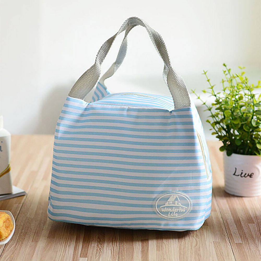 2019 Newest Lunch Bag Insulated Cold Canvas Stripe Picnic Carry Case Thermal Portable Lunch Box Bolsa Termica Lancheira  @3