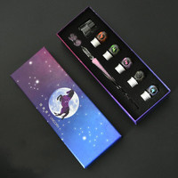 JUGAL Unicorn Crystal Glass Dip Pen set Happy Fawn Signature Pen Writing tools Pluma Estilografica Pluma de vidrio Gift Box