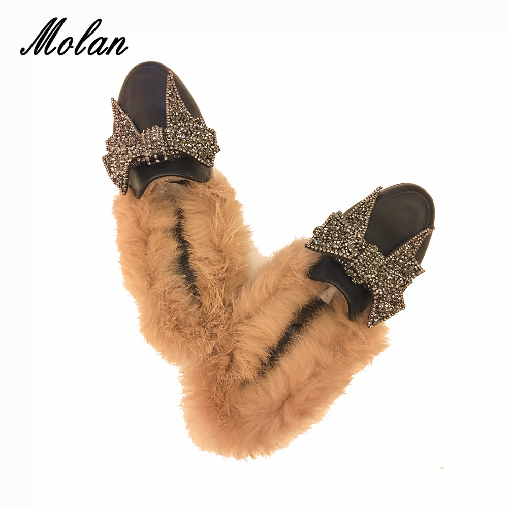MOLAN Genuine Leather Butterfly-knot Flat Slippers Rhinestone Winter Shoes Women Designers Loafers Slip On Fur Slides Mules все цены