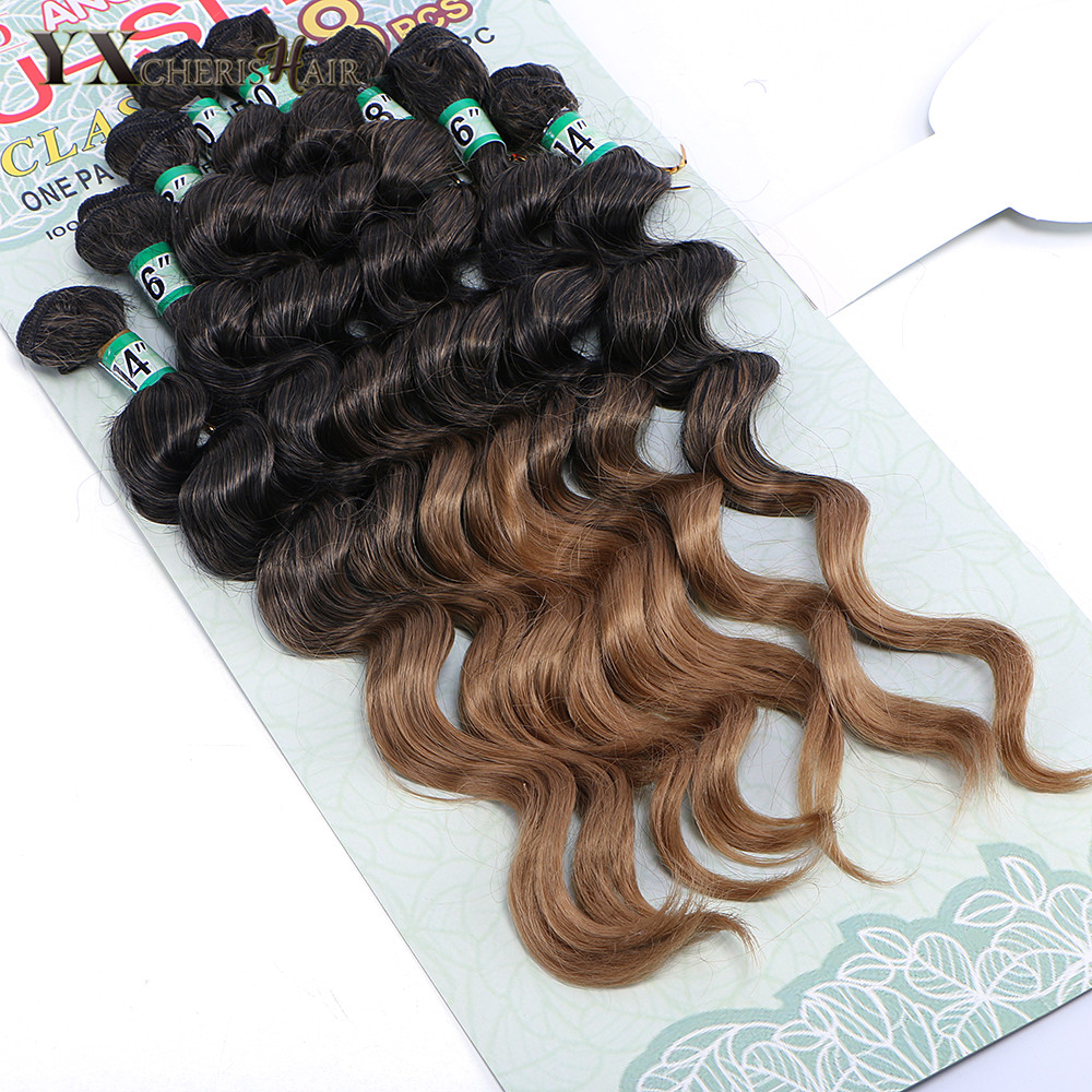 YXCHERISHAIR Heat Resistant Ombre Black Brown Synthetic Hair Extensions Deep Wave Weave Hair Bundles 14inch 16inch 18inch 20inch ...