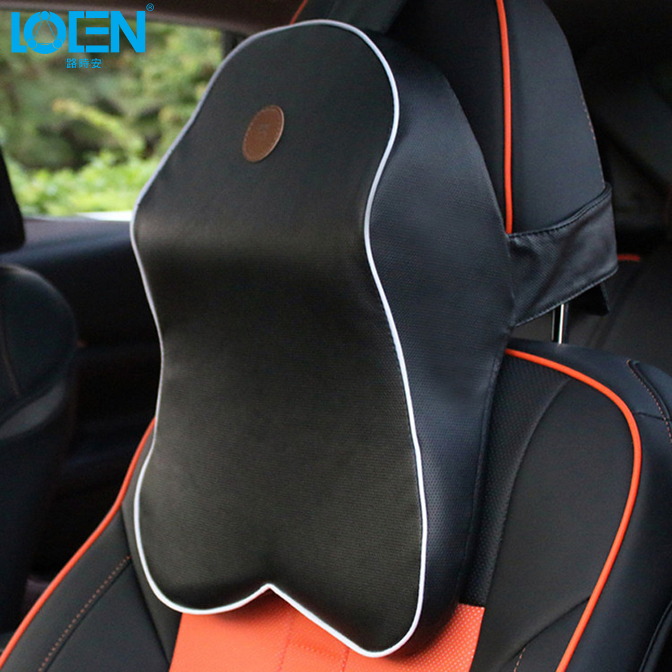 LOEN 1PC PU leather/Cloth Car seat Headrest neck back support car <font><b>pillow</b></font> Universal for toyota vw ford hyundai chevrolet lada