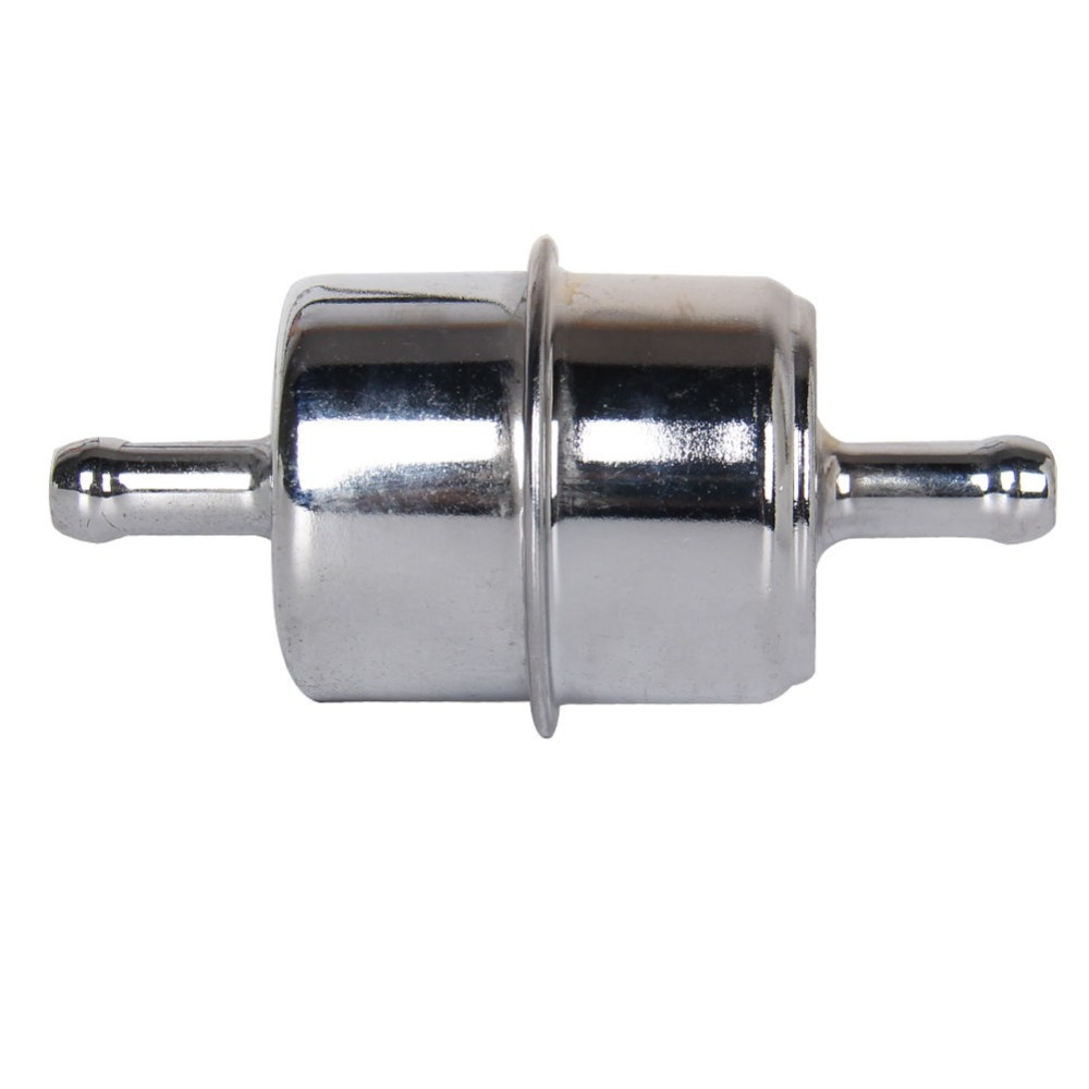 """Fuel Filter 3//8/"""" INLET OUTLET Steel Black UNIVERSAL Gas Line Chevy Ford Dodge"""