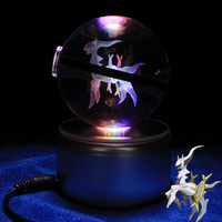 New 3D Laser Pokemon Go Crystal Arceus Sculpture Ball With Led Light Base for Cartoon Souvenirs