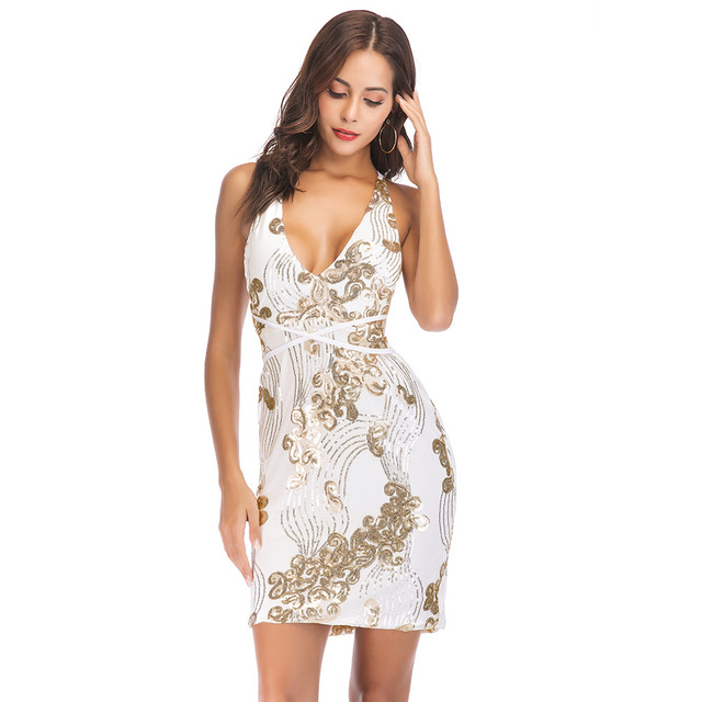 1fa0e897 Sexy Paisley Sequin Club Dress Deep V-Neck Backless Cold Shoulder Mini  Sheath Party Dress