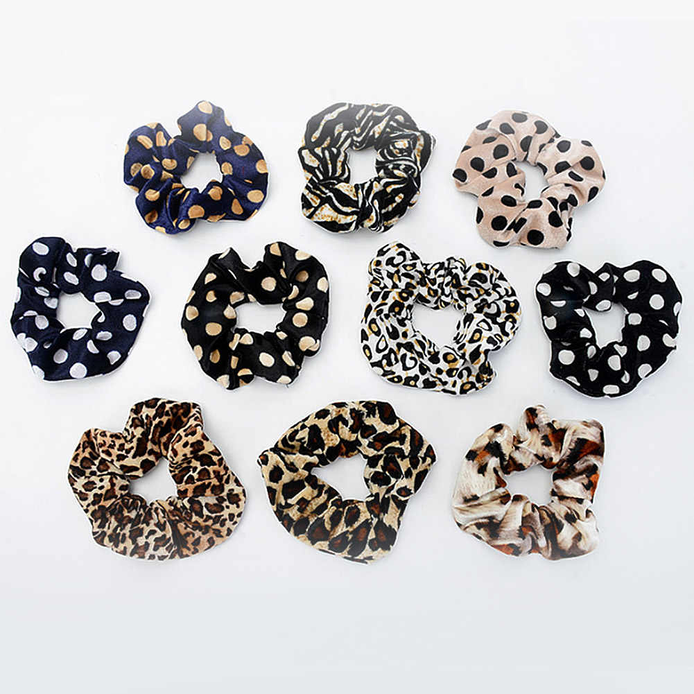 1PC Fashion Leopard Striped Dot Velvet Hair Ties Scrunchies Girls Women Elastic Hair Bands Soft Hair Accessories Ponytail Holder