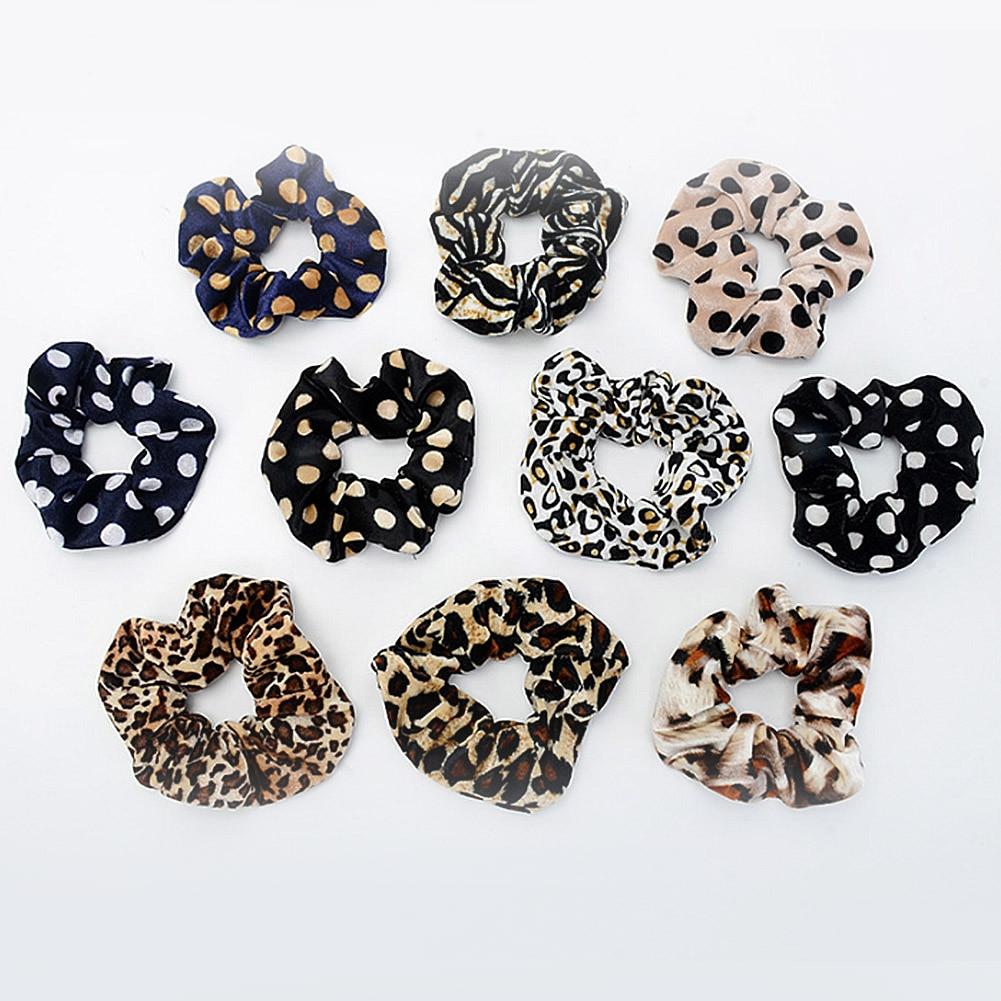 1PC Fashion Leopard Striped Dot Velvet Hair Ties Scrunchies Girls Women Elastic Hair Bands Soft Hair Accessories Ponytail Holder