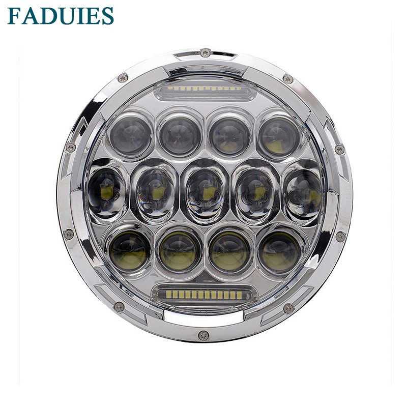 FADUIES Chrome 75W 7 tommers rund ledet headlight Angel Eye for Harley Davidson Road King Street Glide Ultra Classic Electra glide