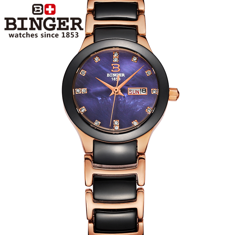 где купить Switzerland Binger ceramic wristwatches Women fashion quartz watch rhinestone Lovers watches 100M Water Resistance B-8007-4 дешево