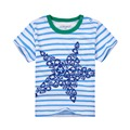 2016 aosta betty brand clothing summer Kids Baby Girls Boys T-shirt short Sleeve Striped Starfish children's tops cotton t-shirt