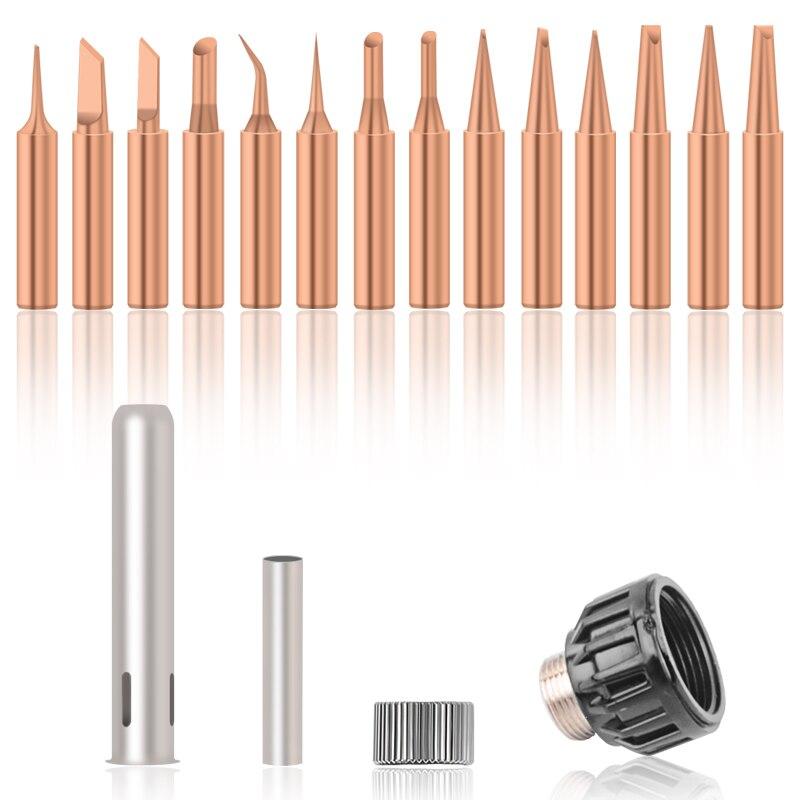 15Pcs/Set Pure Copper Solder Iron Tip Non-magnetic Tip For Soldering Rework Station 936 909d 853D 936
