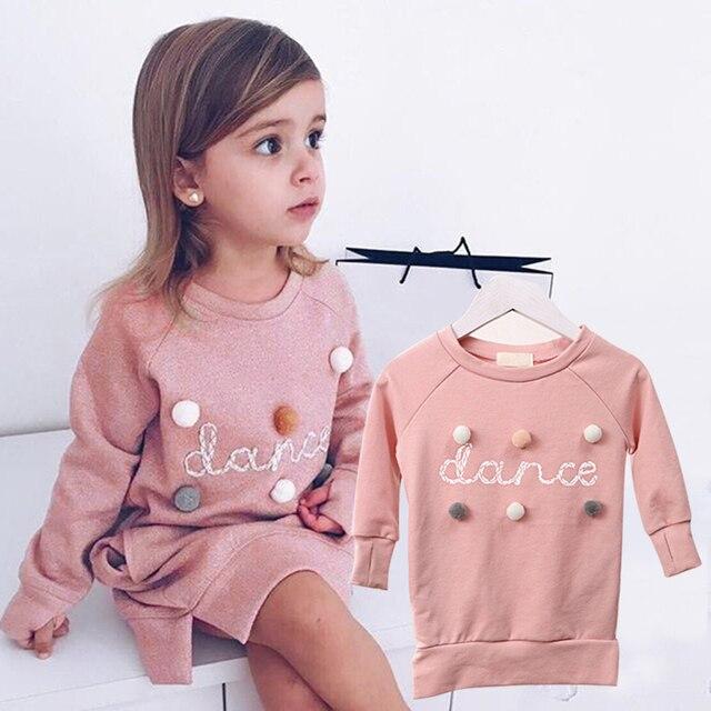 KAVKAS 2018 winter long-sleeved letter Kids dress For girls