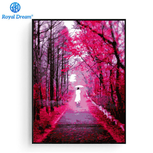 Pink Road Handmade Oil Painting By Numbers Canvas Painting Wall ...