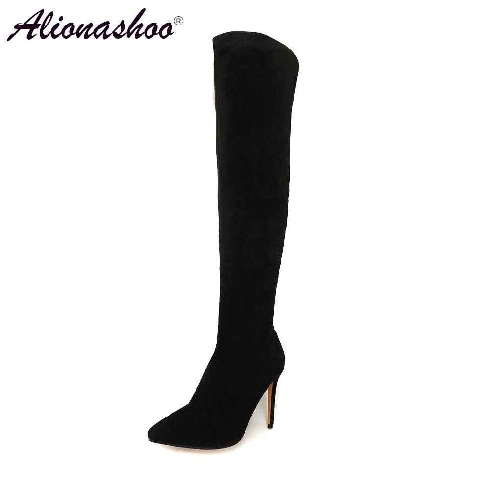 Alionashoo 2018 الشتاء النساء الأحذية تمتد ضئيلة الفخذ أحذية عالية موضة فوق الركبة أحذية عالية الكعب أحذية امرأة كبيرة الحجم 46