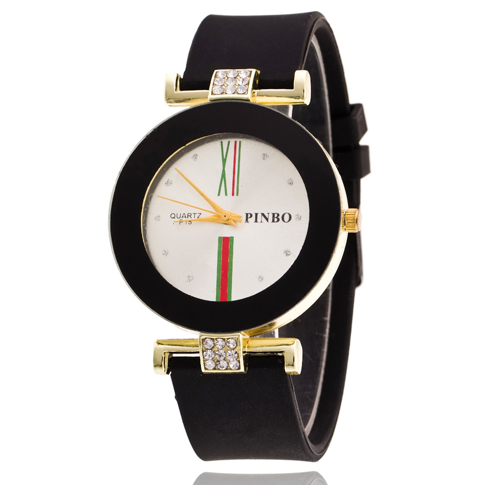 Classic Black White Silicone Diamond Quartz Watch Bra *