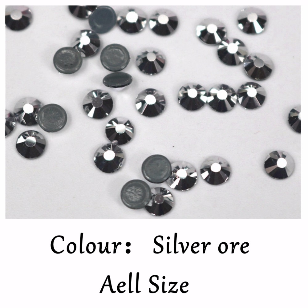 AAAAA grado 99% Color Similar Mineral de plata Hotfix Flatback - Artes, artesanía y costura