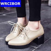 Genuine leather British Style font b Women b font Oxfords Flats shoes pointed Toe Creepers Casual