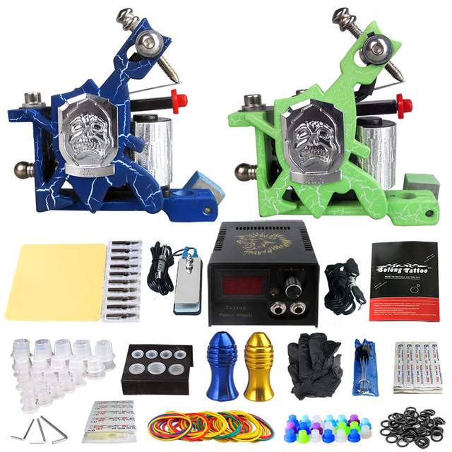 Solong Tattoo Pro Tattoo Kit 2 Rorary Tattoo Machine Gun Power Supply 1 Practice Skin Dual-sided Re-usable One Set TK202-14