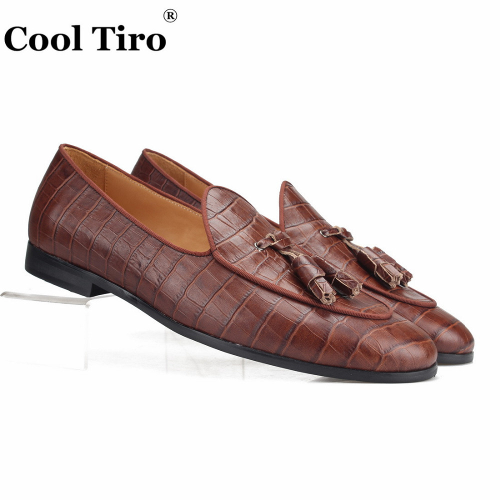 Cool Tiro Brown Crocodile Loafers Tassels Men Slippers Moccasins Man Flats Casual Shoes Handmade Men s