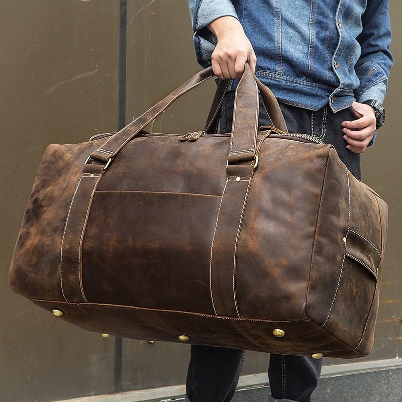 J.M.D Crazy Horse Genuine Leather Travel Bag Men Vintage Travel Duffel bag big Cow Leather Carry On Luggage Weekend large  6008R