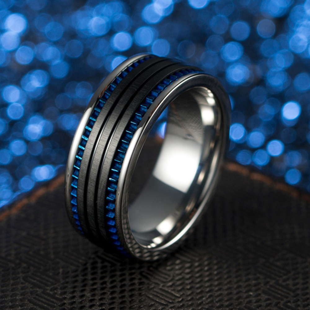 FntYcm Fashion Wire Drawing Black And Blue Color Man Ring Men Stainless Steel Engagement Male Rings For Men Bague Homme titanium ring