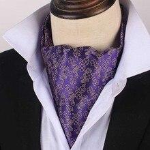 Bridegroom Wedding Evening Party Men Tuxedo Suit Purple Violet Flower Korean Silk Neckerchief Scarf Floral Embroidery Tie Cravat