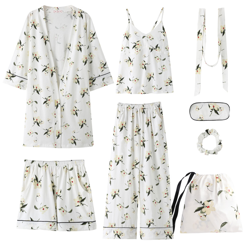 Women pajamas seven suits spring autumn long sleeves pure cotton kimono robe summer and winter sexy home clothes Christmas gift