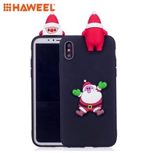 HAWEEL 3D Paster Santa Claus Pattern TPU Protective Case For iPhone X XS MAX XR Shell Guard Cover