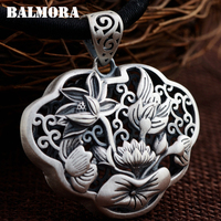BALMORA 100 Real 990 Pure Silver Vintage Lotus Flower Hollow Pendants For Women Mothers Gifts Without