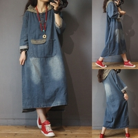 Spring Autumn Women Casual All match Ultra Loose Plus Size Vintage Pockets Patchwork Hooded Denim Dresses