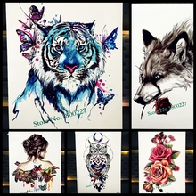 Watercolour Blue Tiger With Butterfly Temporary Tattoo Stickers, Drawing Body Art Paint Waterproof Tattoo Fake Flash Tatoo Women