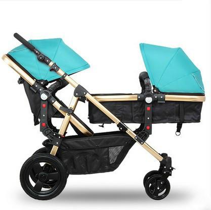 Gemelo del cochecito de bebé puede sentarse mentira suspensión de alta paisaje luz se puede dividir en dos de doble carro