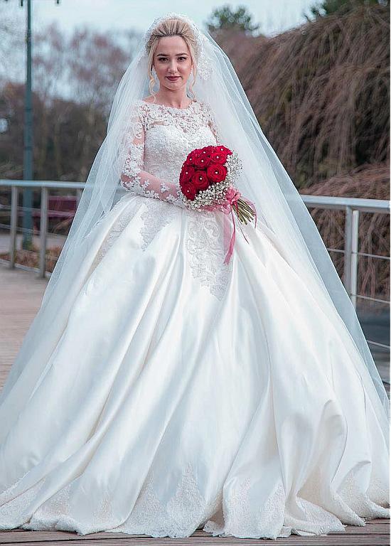 Long Sleeves Vestido De Noiva 2019 Muslim Wedding Dresses Ball Gown Satin Lace Pearls Vintage Dubai Arabic Wedding Gown Bridal