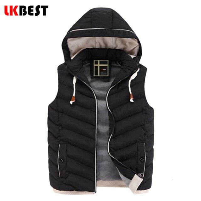 LKBEST Men's Vest 2017 New Mens Jacket Sleeveless veste Winter Casual Coats Male Hooded Cotton-Padded men Waistcoat (MJ01L)