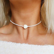 Minimalist Heart Bead Choker Necklace for Women Elegant Love Heart Pendant Charm Statement Jewelry Gift stylish hollowed heart choker necklace for women