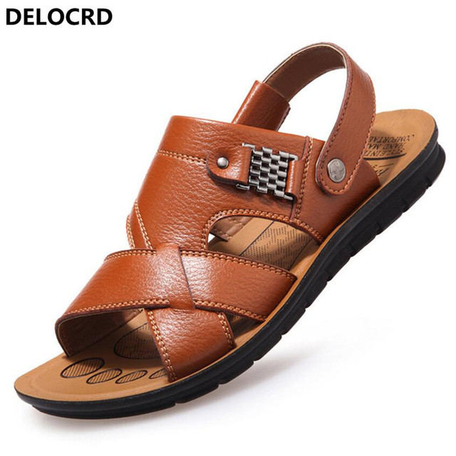 c85a1b523c6 New Summer Men s Sandals Leather Men s Casual Shoes Beach Shoes Youth Leather  Non-slip Summer Fashion Leather Slippers Sandals