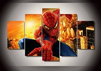 2016 New High Quality Spiderman Room Decoration Canvas Of 5 Pieces Wall Decals Kids Frameless Painting