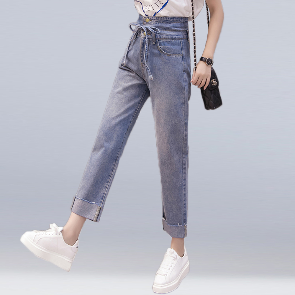 2018 new loose wide leg jeans women high waist button bow tied long cotton denim pants fashion casual straight jeans pants